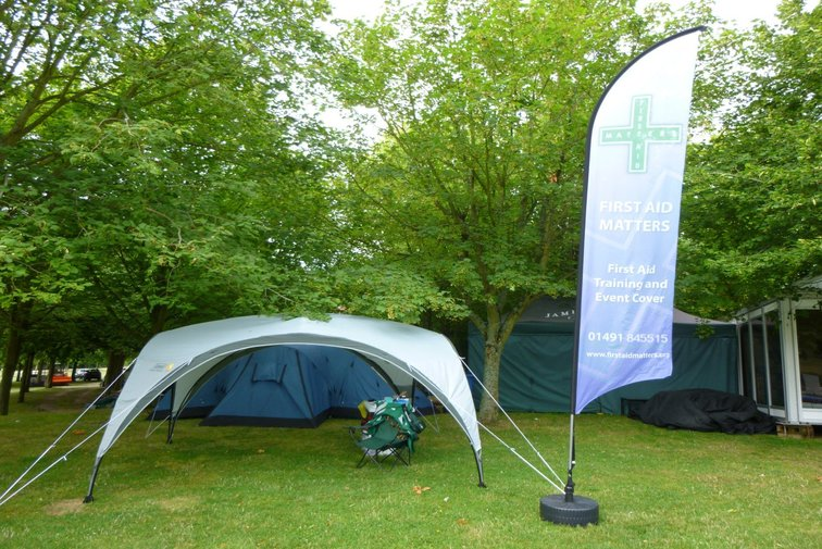 First Aid Matters Event tent - this is where the team provides first aid at fetes, shows, concerts and film sets.